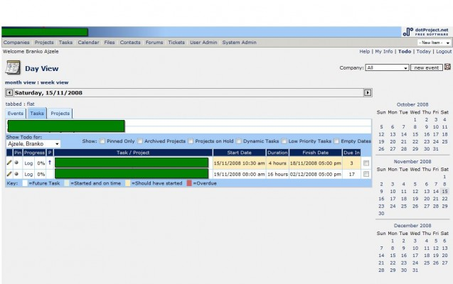 dotProject web application screenshot