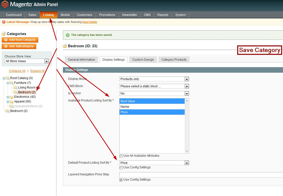 Changing Default Category Sort Order In Magento
