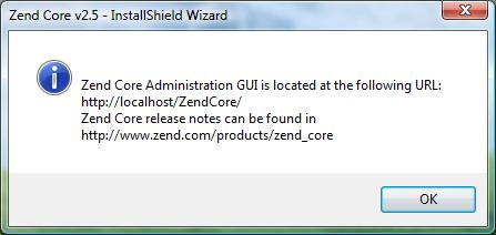 Location of ZEND Core's administration GUI