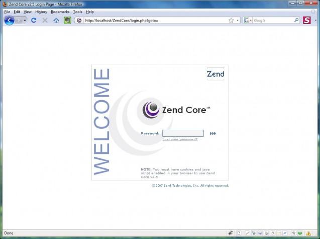 zend core admin login