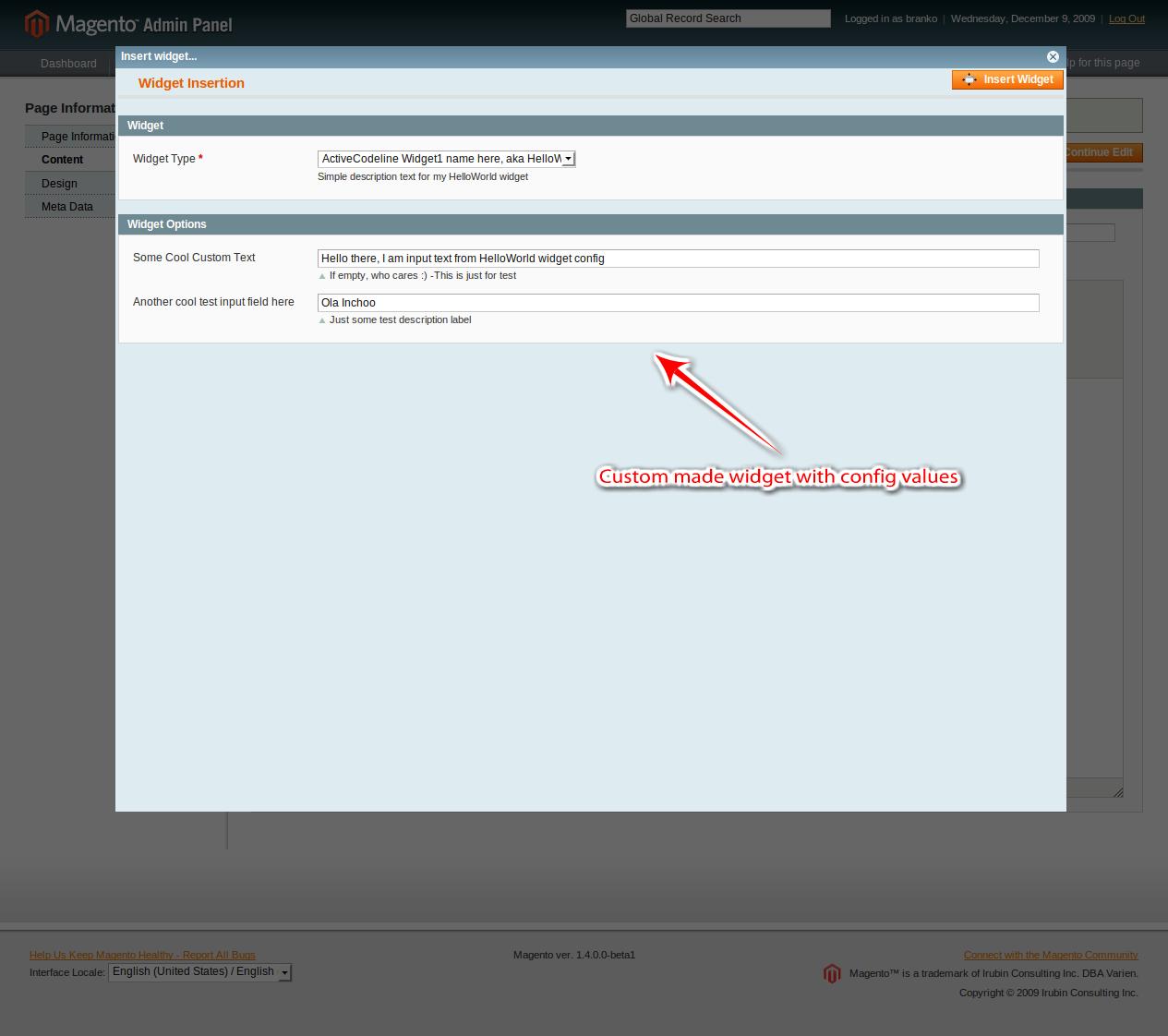 magento admin panel blank widget 2