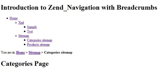 zend framework navigation with breadcrumbs inchoo