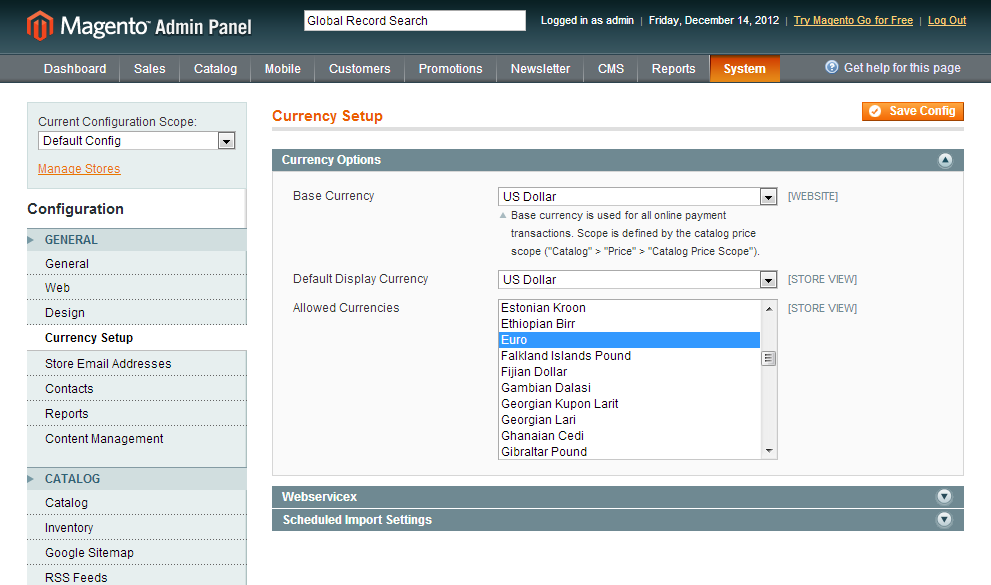 Enable Multiple Currencies In Magento