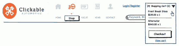Wireframe of the header suggestions - Clickable Automotive