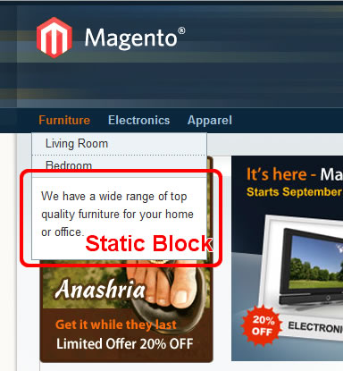 Static block in main navigation