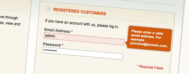 Show Magento form validation error messages in a tooltip