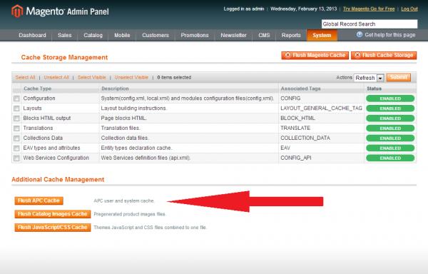 Cache Management - System - Magento Admin