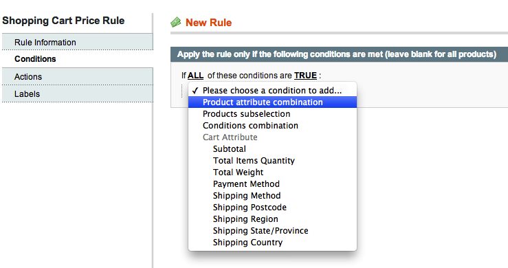 Magento Shopping Cart Promotion Rule for Product with Custom Options