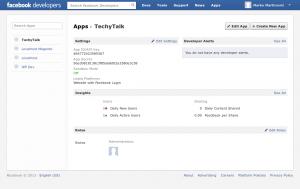 Facebook App Step 1