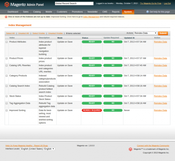 Index Management - System - Magento Admin