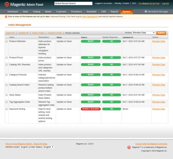 Index Management - System - Magento Admin