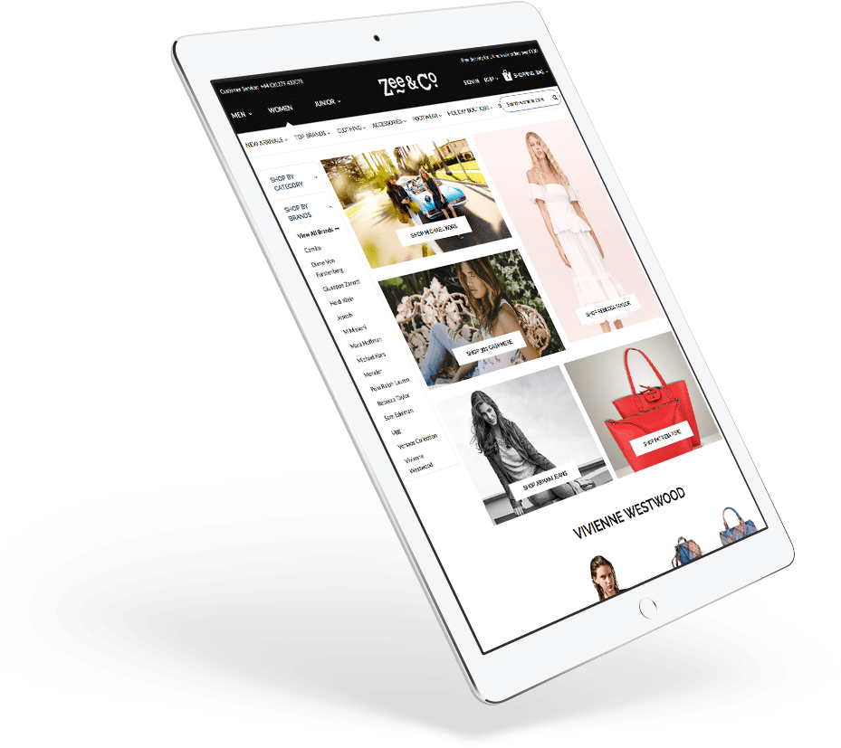 Zee&Co Website on a tablet device