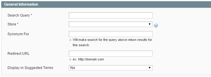 Synonym and Redirect in Magento Internal Site Search Editing Screenshot Admin