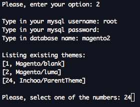 Interactive Bash script for managing themes in Magento 2