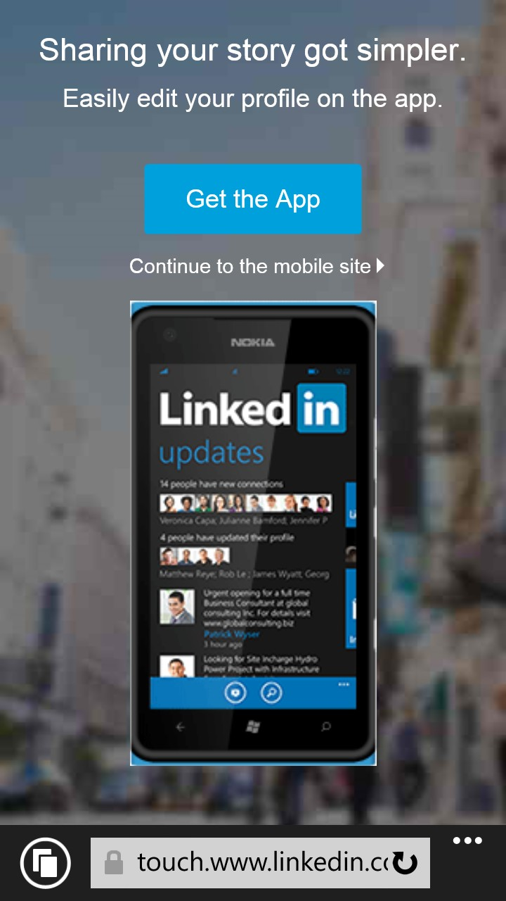 mobile pop-up on linkedin
