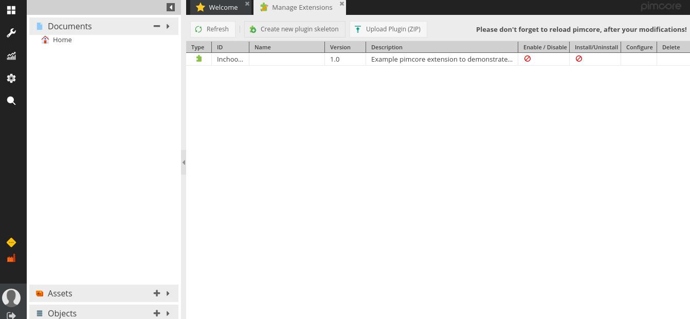 pimcore-manage-extensions