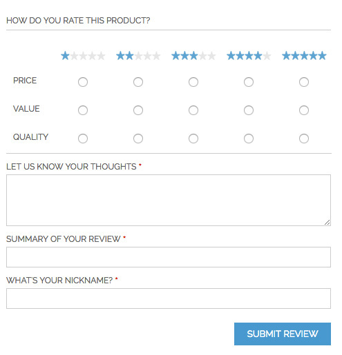 Improve default Magento reviews - default product review form