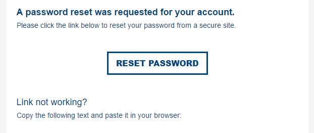 password reset email CTA