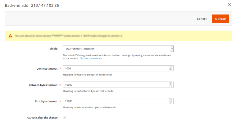 Configure Origin shielding and timeout settings in Fastly