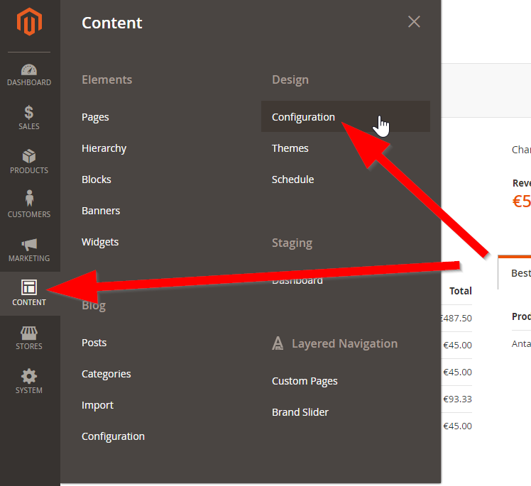 Magento 2 default description and default keywords admin interface location