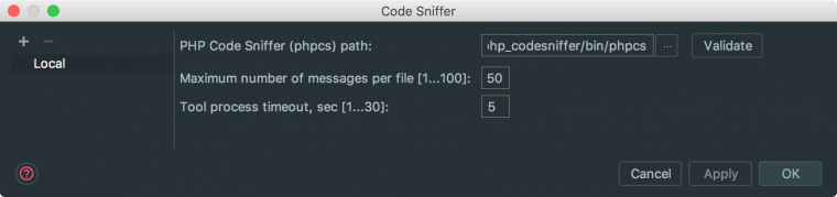 Code Sniffer Installation Path