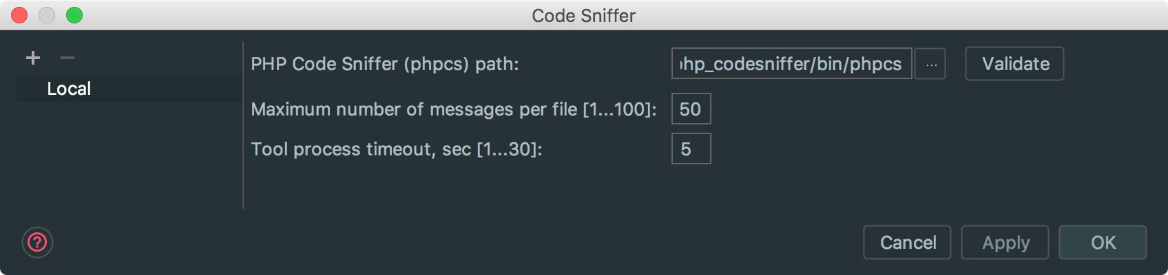 Code Sniffer Installation Path