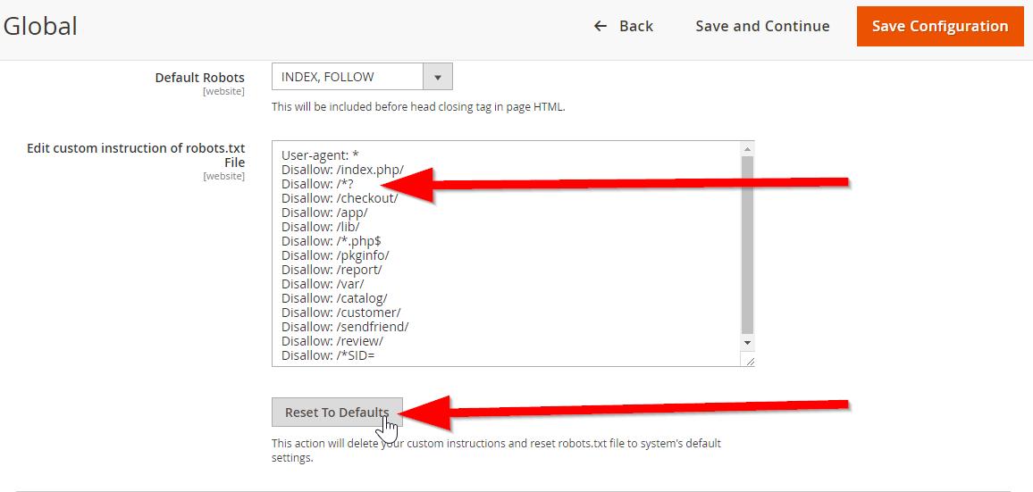 Magento 2's default boilerplate for robots.txt file