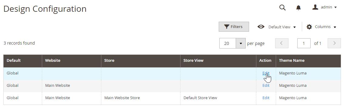 Edit global or website scope