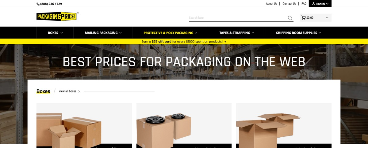 Packaging Price - case study - Magento - new design