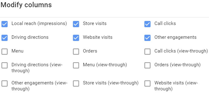 modify columns per store visits report
