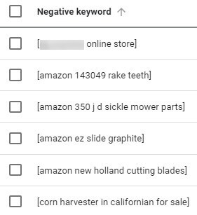negative search terms example keywords