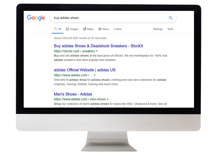 google search result - transactional intent example