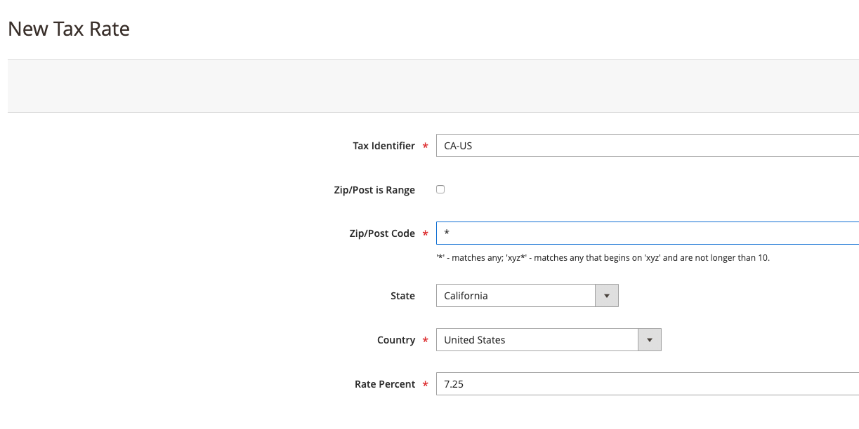 Tax Rate Setup in Mgaento 2 for California United States