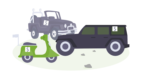Illustration - several vehicles