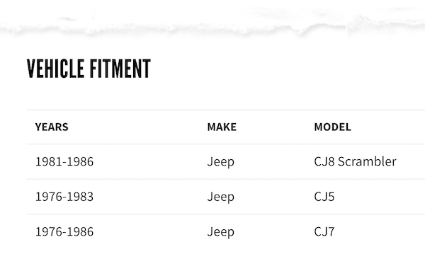 table with car part fitments - website screenshot