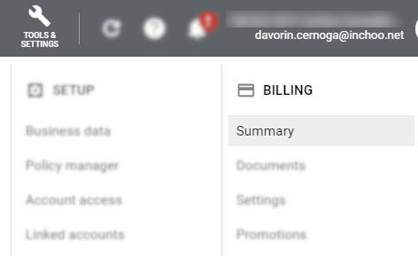 google ads billing summary