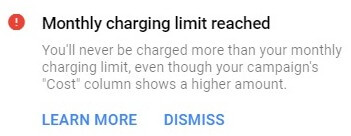monthly charging limit notice google ads