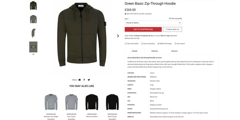 Product recommendations on the product page