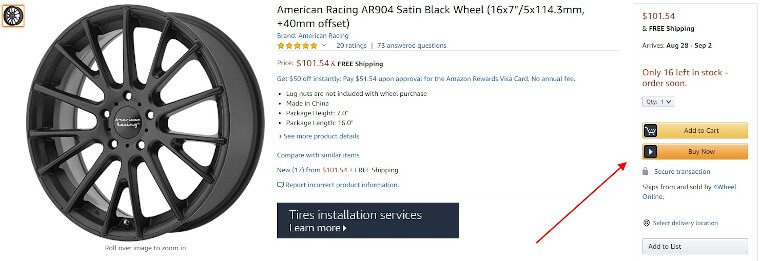 wheel rim buy box amazon