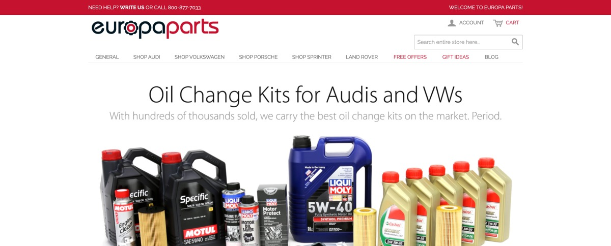 The old Europa Parts webshop online store