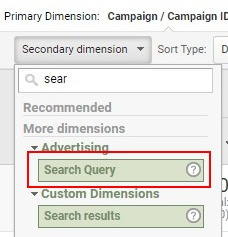analytics secondary dimension search query