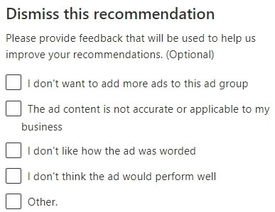 dismiss microsoft advertising recommendation