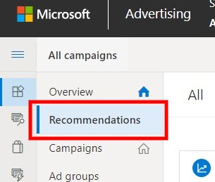 recommendations tab microsoft advertising